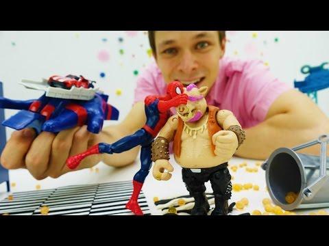 Супергерои МАРВЕЛ! Мультик с Человеком-Пауком. Строим ловушки для Бибопа!