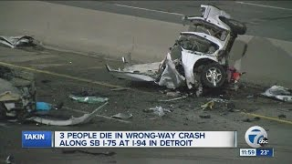 3 people die in wrong-way crash on SB I-75 in Detroit