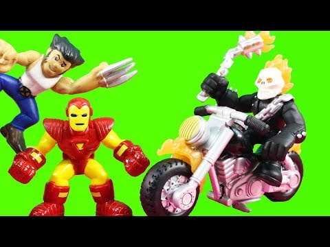 Marvel Superhero Squad Iron Man Repulsor Rammer Smashes Ghost Rider + Wolverine Weapon X Cycle