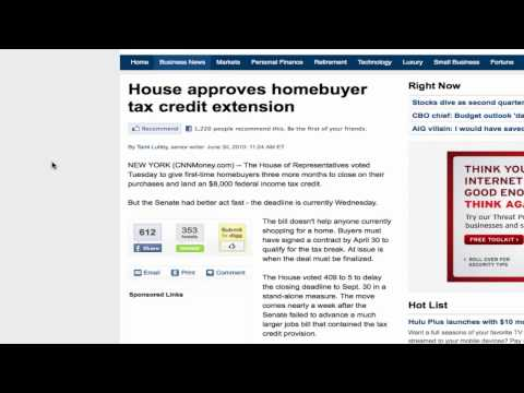 First Time Home Buyer Tax Credit Extension Update