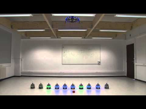 Swarm Robots Cooperate with AR Drone