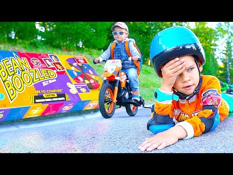 Ride on power wheels to sweets. Too many candies for kids