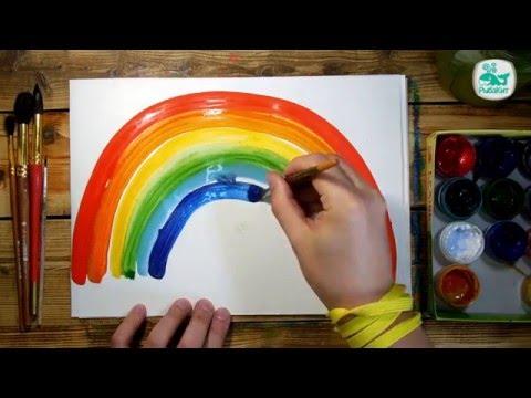 Как нарисовать РАДУГУ красками | Простые рисунки красками | Урок рисования для детей
