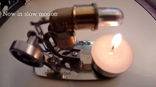 "High Speed alternative Stirling Engine using ""Free Energy"" from candle heat"
