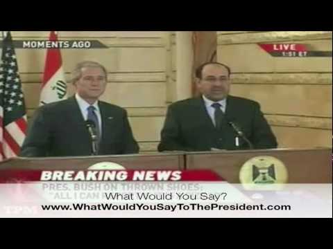 President George Bush dodges a reporters who threw is shoes at him while visiting Iraq 12 - 14 -08