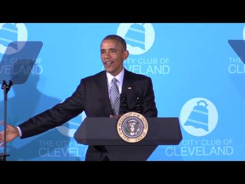 President Barack Obama talks middle-class economics at the City Club of Cleveland