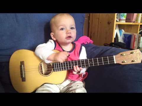 Baby Singing and Playing Ukulele