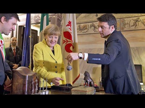Matteo Renzi Angela Merkel Incontro a Firenze - Palazzo Vecchio