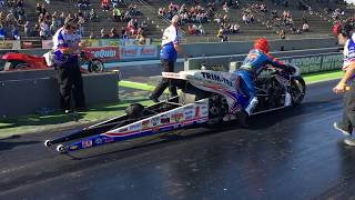 "Crew Chief FURIOUS after Larry ""Spiderman"" McBride's Top Fuel Nitro Motorcycle Destroys Tire"