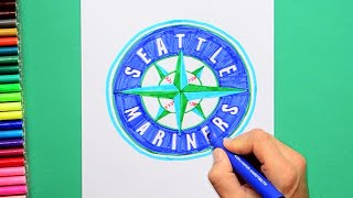 How to draw and color the Seattle Mariners - MLB Team Series