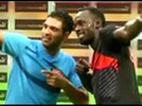 Usain Bolt beats Yuvraj Singh on cricket field