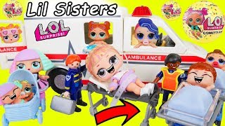LOL Surprise Dolls in Toy Hospital + Lil Sisters in Baby Strollers