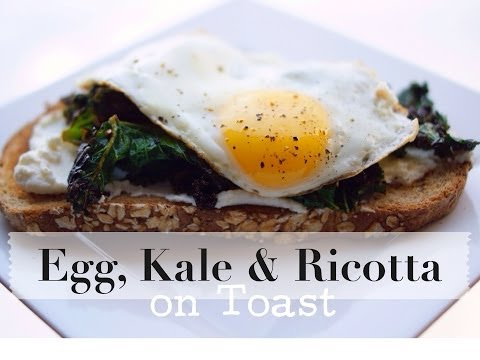 Egg, Sauteed Kale and Ricotta on Toast