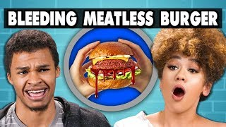 BLEEDING MEATLESS BURGER - Impossible Burger | College Kids Vs. Food
