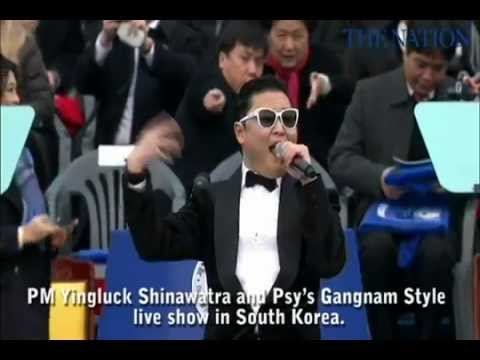 PM Yingluck Shinawatra and Psy's Gangnam Style live show in South Korea.