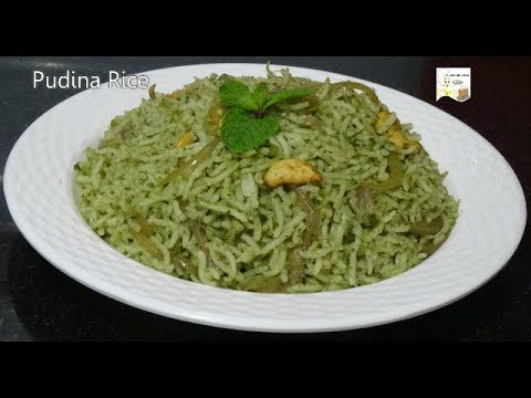 Pudina Rice - Easy Lunch Box Recipe - Instant Pudina Rice - Mint Rice