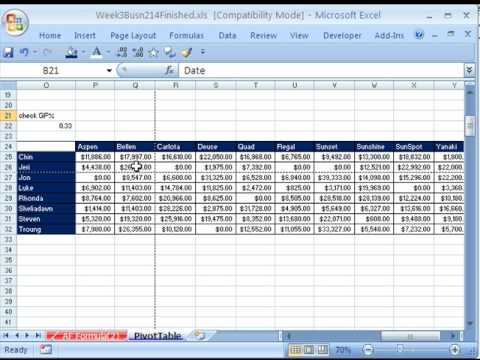 Highline Excel Class 20 Pivot Tables 20 Examples Youtube
