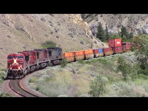Thompson Canyon - CP Stack Train 199 w/Blue Bird at Martel, BC (June 9, 2016)