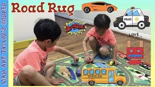 Melissa & Doug Road Rug Unboxing and Play Time with Toy Wooden Cars   Liam and Taylor's Corner