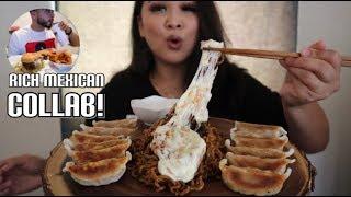 MUKBANG | Cheesy Black Bean Noodles and Potstickers collab w/ Rich Mexican