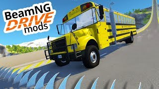 BUS VS 1000 SPIKES?! - BeamNG Mods #15 [Deutsch/HD]