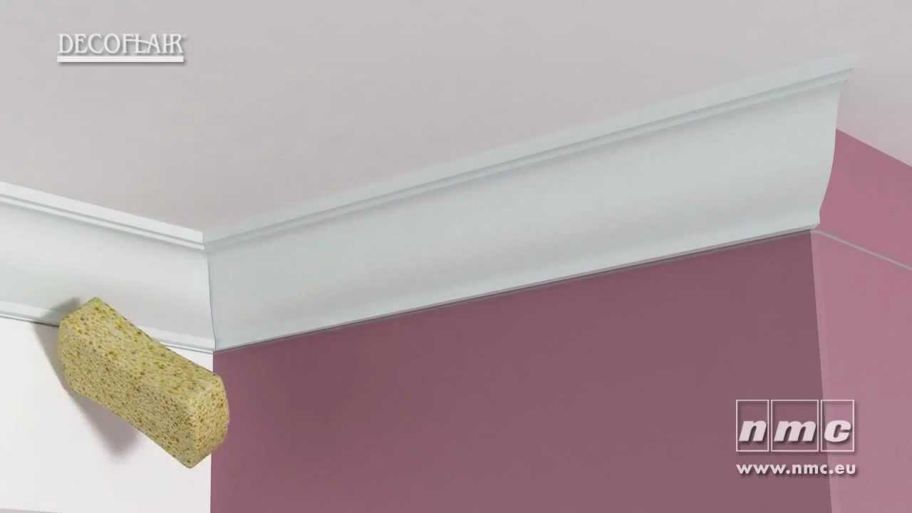 Pose de moulures d coratives nmc youtube - Comment couper les plinthes en angle ...