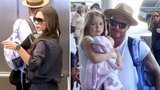The Beckham Family Leave Los Angeles
