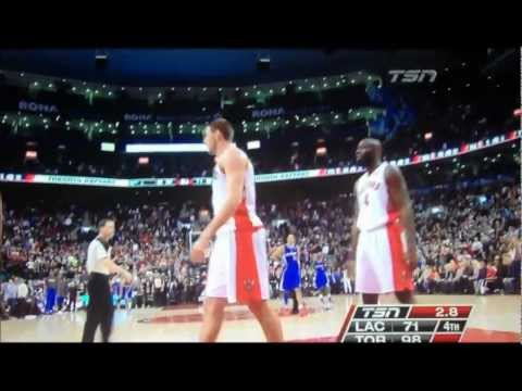 "Caron Butler tricks Jonas Valanciunas with ""fake-high five"" February 1st Raptors vs Clippers"