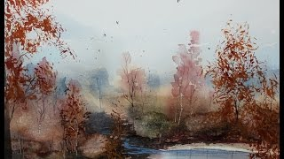 Step by step Watercolor fall landscape