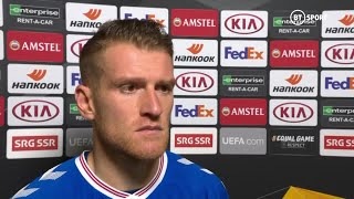 """We've got to be angry at ourselves"" Steven Davis spoke to BT Sport after Rangers' late defeat"