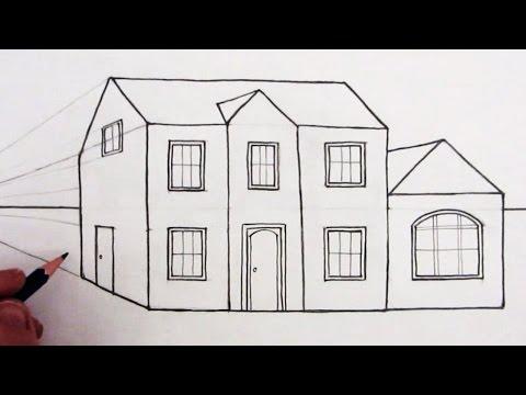 Как нарисовать 3д рисунок дома поэтапно