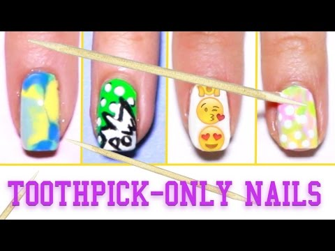 6 Nail Art Designs Using A Toothpick!! (for Beginners) video