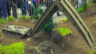 AMAZING RC MODEL BRIDGE LAYER TANK M48 PATTON AVLB IN ACTION!! RC MILITARY VEHICLES