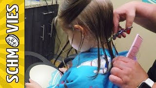 Cute Little Girl gets a CUTE Haircut!!