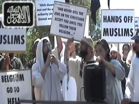 NIQAB BAN DEMONSTRATION IN LONDON - Belgium embassy - part1.