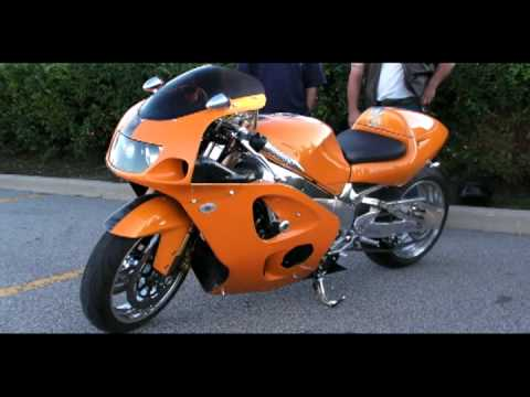 CUSTOM Suzuki GSXR750. Hayabusa Engine. Stretched. Straight Exhaust. HD