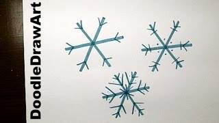 Drawing: How To Draw an Easy Snowflake - Step by Step for kids!