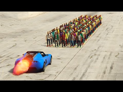 GTA 5 - CAN 100+ PEOPLE STOP THE VOLTIC ROCKET CAR?
