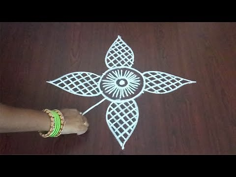 Simple Geethala Muggulu 3 x 2 || Easy Flower Rangoli  || Lines Design ||  Fashion World & Rangoli