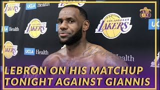 "Lakers Interview: LeBron Talks About His Matchup Against Giannis & About His Show ""The Shop"""