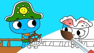 Котики, вперед! - Раскраска все серии подряд. Мультфильмы для детей. Сборник мультиков-раскрасок.