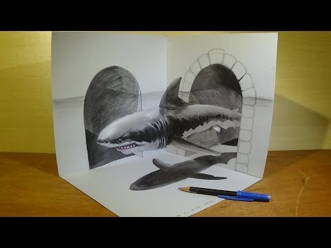 Great White Shark, Trick Art in 3D, Drawing Thopic