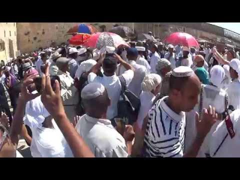 Ethiopian Jews dancing at the Western Wall (Wailing Wall) in Jerusalem on Sukkot