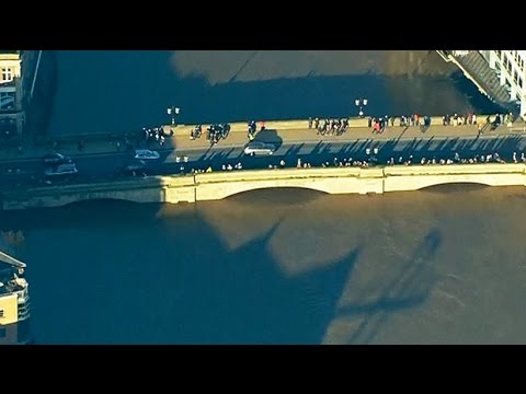 UK floods: aerial footage shows streets in York underwater