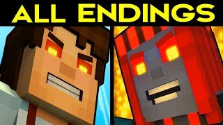Minecraft Story Mode Season 2 Episode 5 ALL ENDINGS (Bad Ending 1 + Good Ending 2) + SECRET ENDING