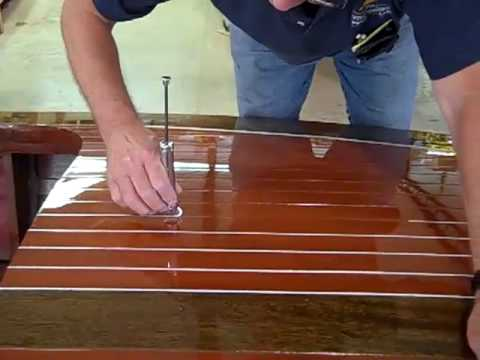 Deck Striping Of A 1938 18 Antique Chris Craft Wooden