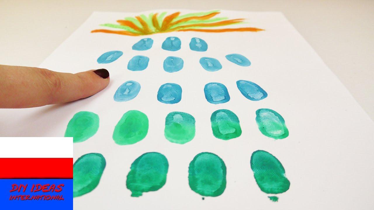 Obrazek z odcisków palców | kolorowy ananas | pomysł na dekorację na lato