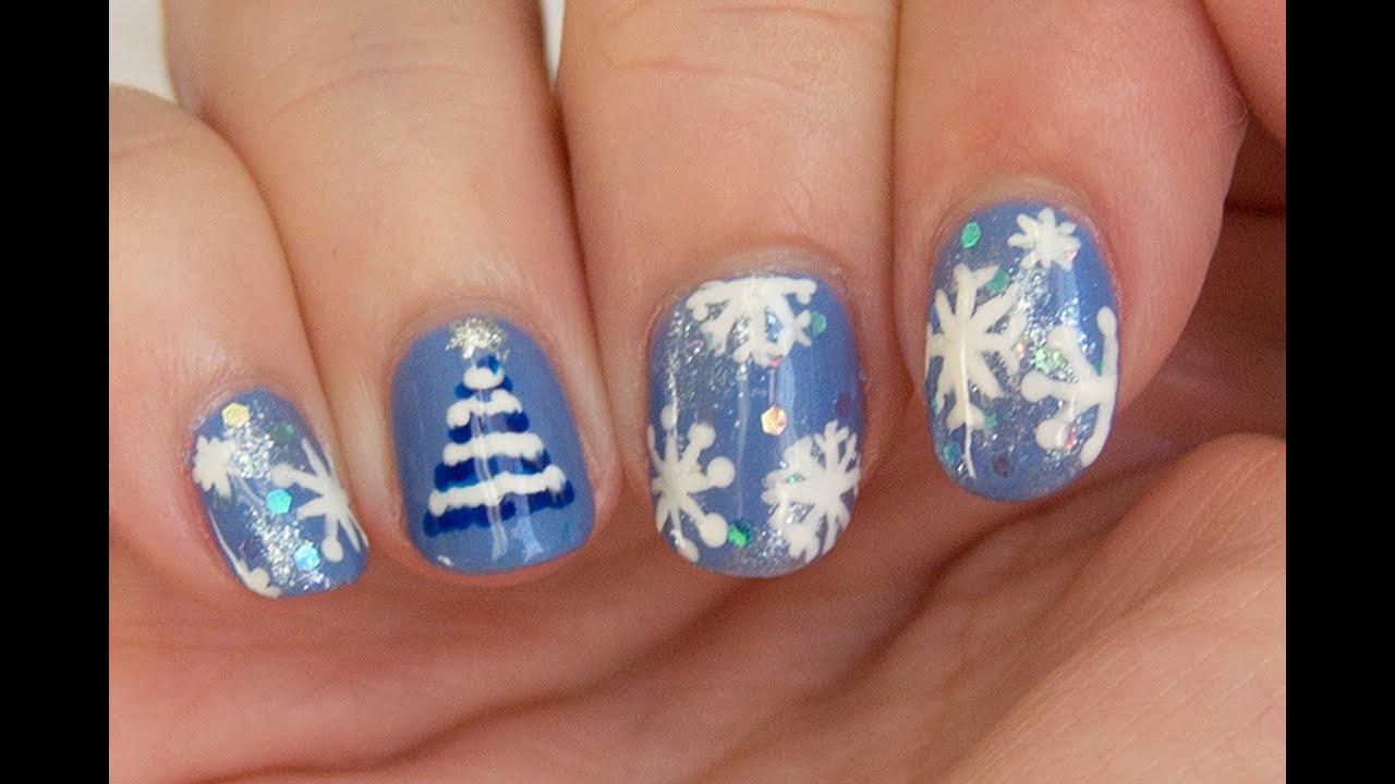 Dise o de u as de navidad en azul rbol f cil - Arboles de navidad de diseno ...