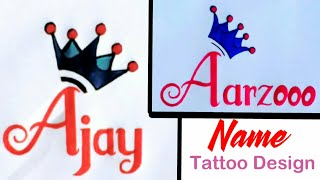 Aarzooo Name and Ajay Name Tattoo Designs by AP Anjali