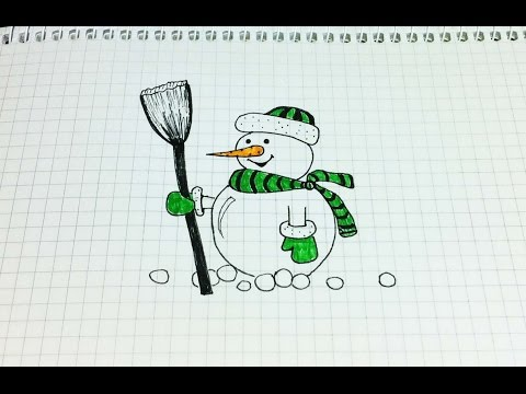 Видео как нарисовать красивого снеговика